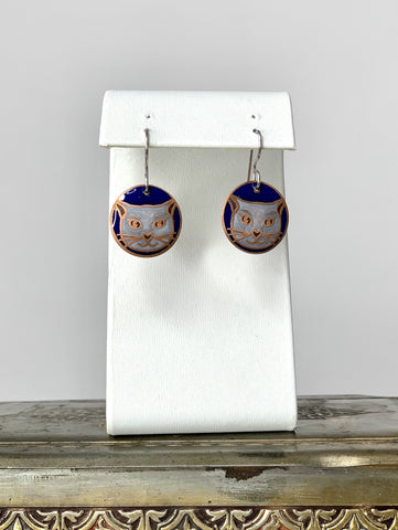 White Cat Earrings with a Blue Background in Copper