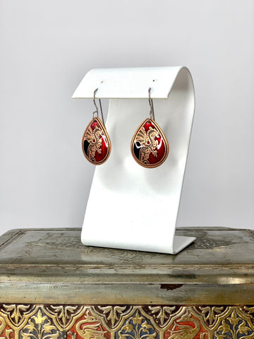 Black and Red Dragon Earrings in Copper