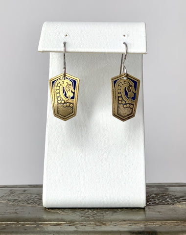 Viking Scar Plaque Dragon Earrings in Brass with Blue