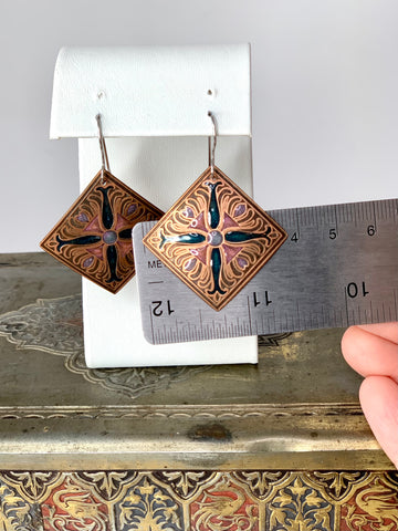 Lotus Flower Earrings in Copper