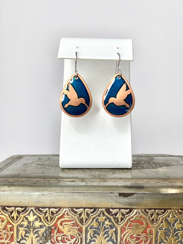 Hummingbird Earrings With Blue in Copper