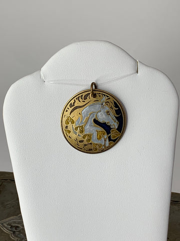 Horse Pendant with Golden Ivy and a Blue Background in Brass