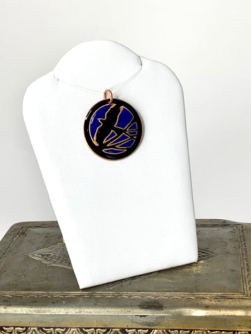 Cobalt Blue Sky Pendant with Flying Raven Pendant