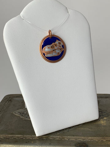 Albertosaurus Fossil Pendant in Copper with Blue and White