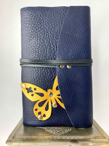 Gold Butterfly Journal with Soft Dark Blue Leather
