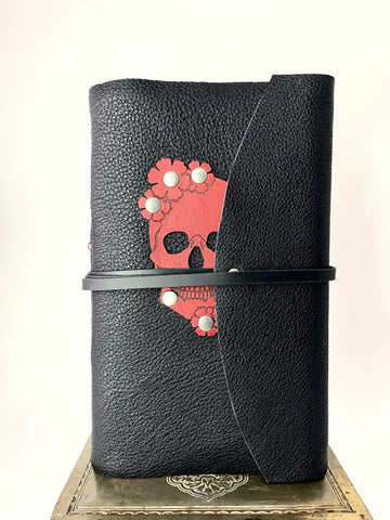 Red Skull with Soft Black Leather Journal