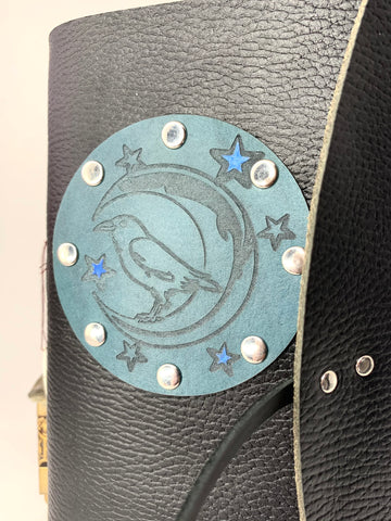 Raven with Moon and Stars Leather Journal
