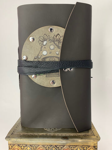 Mushroom Fairy House Leather Journal with Grey Patch