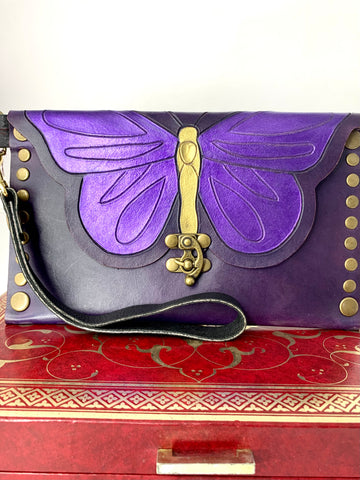 Purple and Gold Hand Carved and Painted Butterfly Leather Clutch