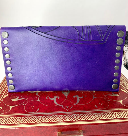 Purple and Silver Hand Carved and Painted Dragon Leather Clutch