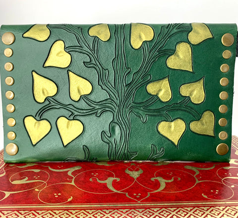 Tree of Life - Hand Carved and Painted Vegetable Tanned Leather Clutch