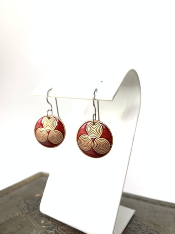 Triskele Earrings in Red