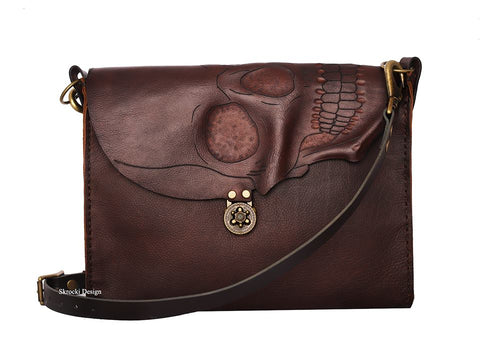Skull Flap Messenger Bag