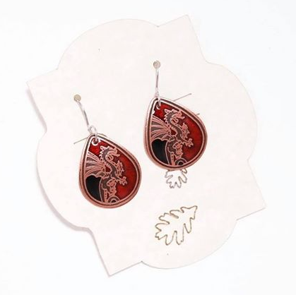 Ruby red & Black dragon small teardrop earrings in pure copper.