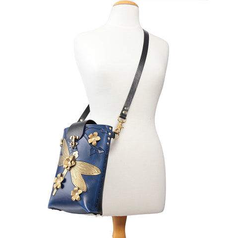 Blue Hand Painted Dragonfly Cross Body Tote bag