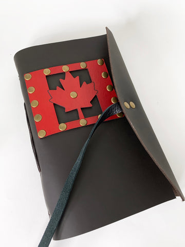 Canada Flag Maple Leaf Leather Journal