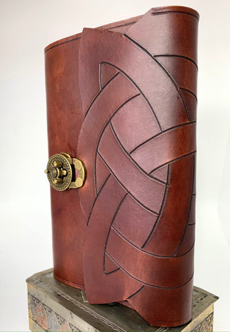 Trinity Knot Hand Carved and Dyed Leather Journal