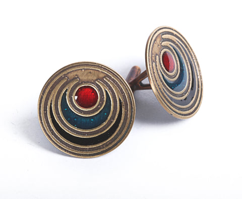 Circle Cufflinks in Brass
