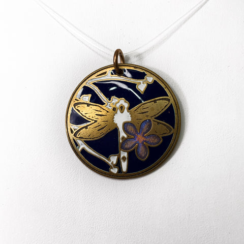 Dark Blue and White Dragon Fly Pendant in Brass