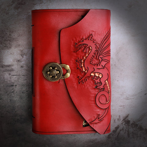 Hand carved red dragon with gold highlights leather bound journal with shield
