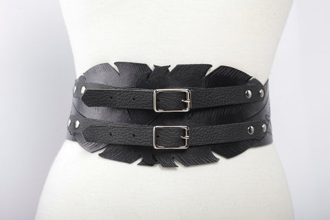 Hand Carved Feather Adjustable Leather Belt