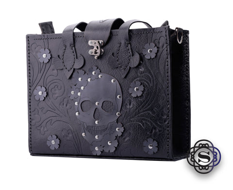 Black leather tote with grey skull and flowers