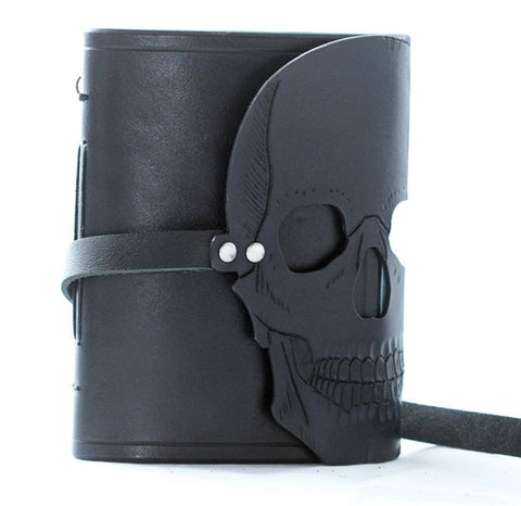 Gothic  skull hand carved leather bound journal