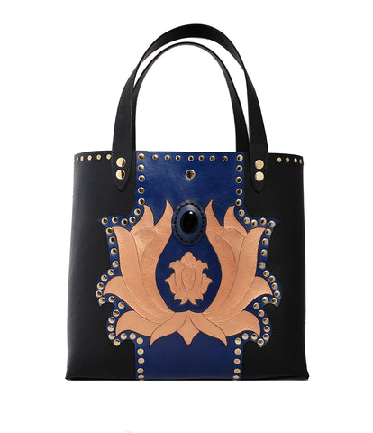 Large Leather Lotus Hand Carved and Painted Tote with Agate Stone