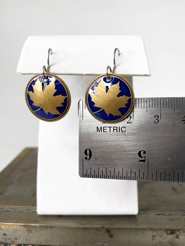 Round Maple Leaf Earrings in Royal Blue and Brass