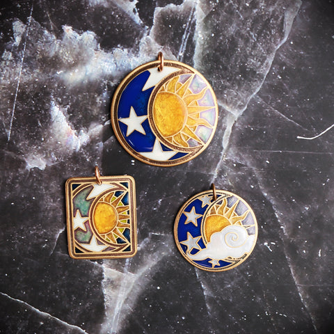 Golden Brass Moon and Stars Pendants