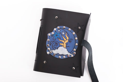 Sun Moon and Stars Celestial Handmade Leather Journal