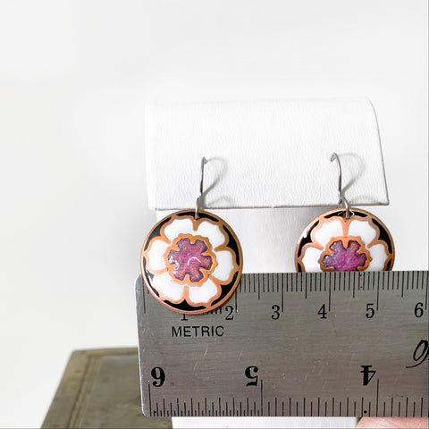 White, Pink and Black Round Flower Blossom Earrings