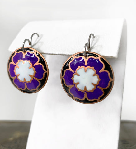 White, Purple and Black Round Flower Blossom Earrings