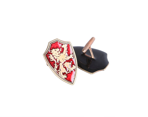 lion rampant brass cufflinks with red inlay. Scottish cufflinks.