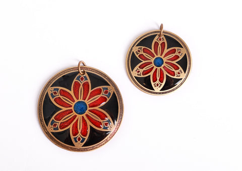 Cathedral Flower Pendant in Brass, red, blue and black