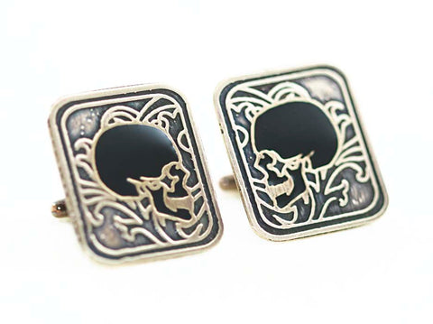 Victorian Skull Cufflinks in Brass