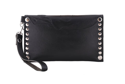 Skull clutch with wristlet