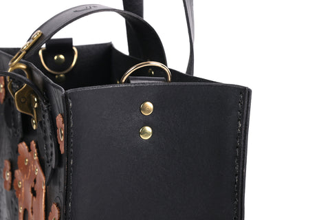 Black leather with gold skull and flowers handmade tote bag with sustainable leather