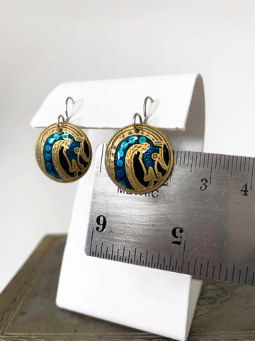 Round Dual Tone Viking Dragon Earrings in Blue and Black