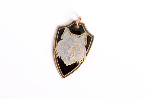 Wolf Shield Pendant in Brass, Pearl White, and Black