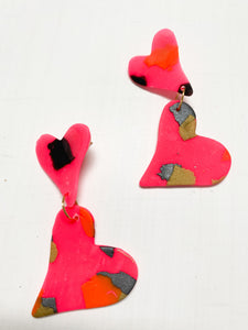 Double Heart Clay Earrings