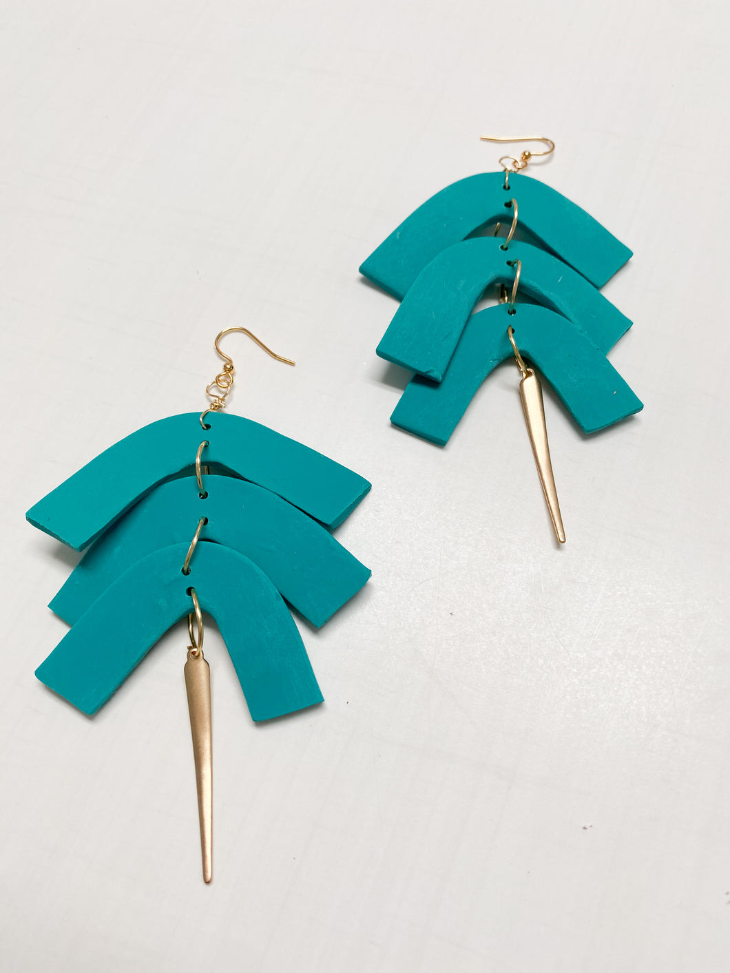 Teal Geometric Clay Spike Dangle