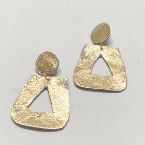 Gold Leafed Leather Door Knocker Earring