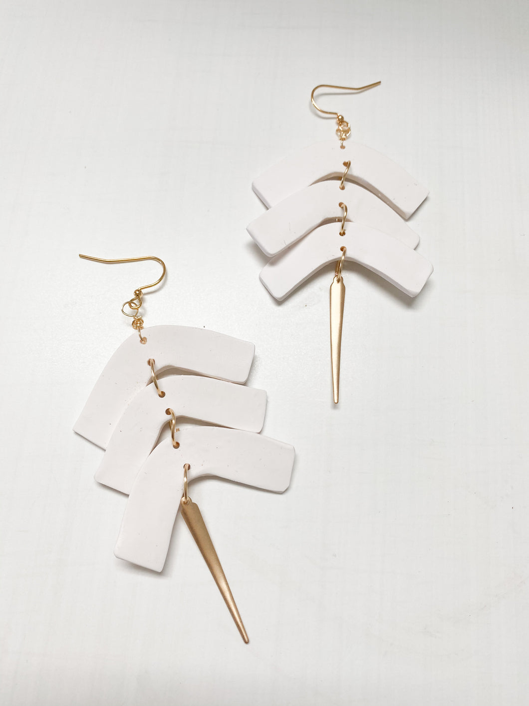 White Geometric Clay Spike Dangle