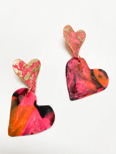 Gold Leafed Double Heart Clay Earrings