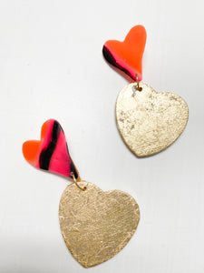 Gold Leafed Clay & Wood Heart Earrings