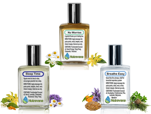 Wellness Trio' Gift Set: Sleep Time, Breathe Easy, No Worries - Aromatherapy Get Well and Thrive Kit