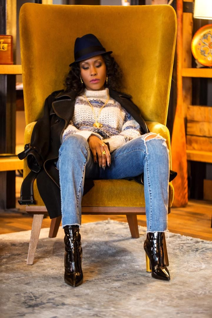 BCBG-Coat-Sweater-Hat-J.Crew-Jeans-Guiseppe-Zanotti-Boots-Dalasini-Bulawayo-Gold-Shield-Pendant-Necklace