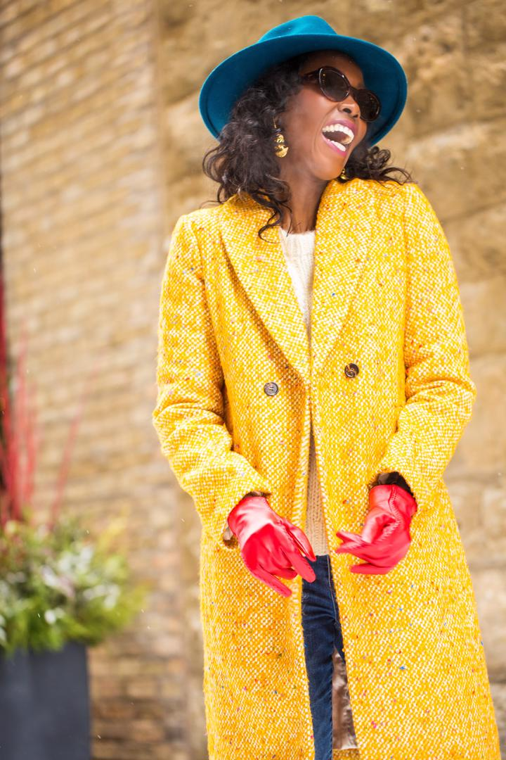J.Crew-Coat-Sweater-Jeans-Sunglasses-BCBG-Hat-Gloves-Dalasini-Turkana-Gold-Maasai-Earrings
