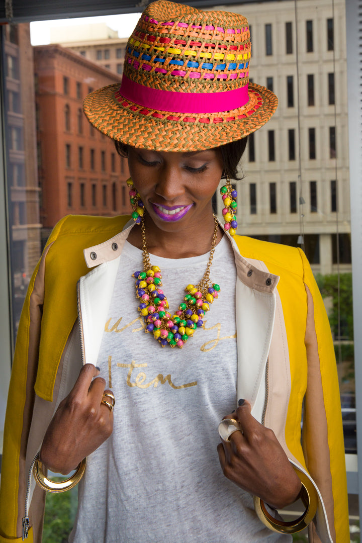 BCBG-Hat-Jacket-Rings-NYX-Berry-Strudel-Gloss-J.Crew-T-Shirt-Bracelets-Nairobi-Multicolor-Necklace-and-Earrings-by-Dalasini